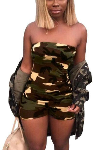 Sexy Off Shoulder Camouflage Short Jumpsuit-Jumpsuits-pinkychloe