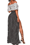 Polka Dot off-the-Shoulder Leisure Beach Wind Two-Piece Set-Dresses-pinkychloe