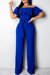 Solid Color Off The Shoulder Flounced Belted Jumpsuit-Jumpsuits-pinkychloe