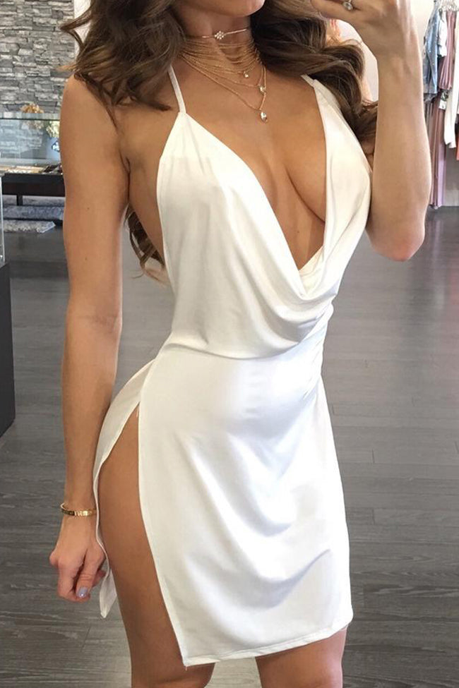 Drape Neck Open Back Side Slit Party Dress-Dresses-pinkychloe