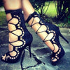Suede Openwork Lace-Up High Heels-Shoes-pinkychloe
