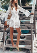 White Sexy Lace Long Sleeve V-Neck Dress-Dresses-pinkychloe