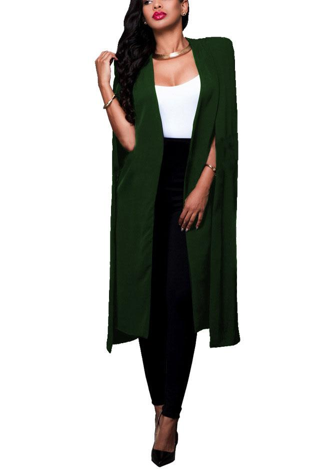 Solid Color Long Paragraph Big Cloak Europe And The United States Xl Women'S Blazer-pinkychloe