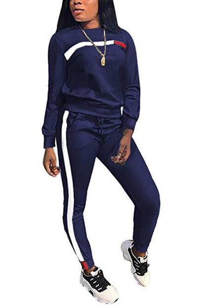 Stylish Casual Striped Sports Suit-Two Piece-pinkychloe