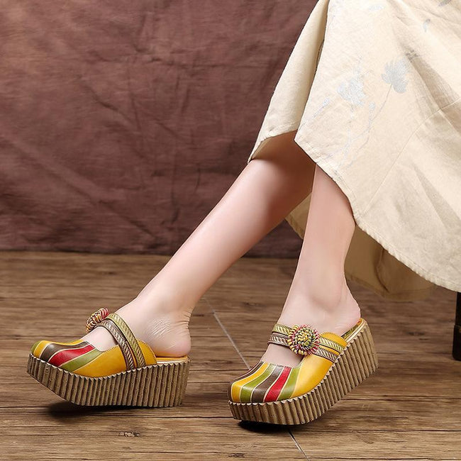 Ethnic Candy Color Lady Slippers-shoe-pinkychloe