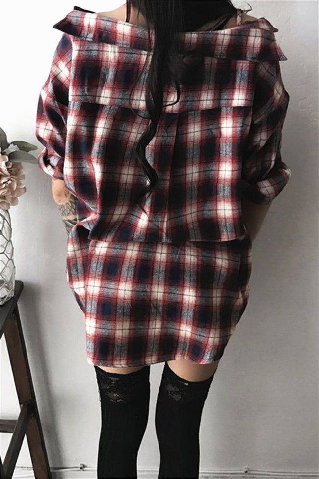 Halter Plaid Button Basic Mid Dress-Dress-pinkychloe