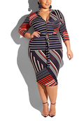 Striped irregular print dress-dress-pinkychloe
