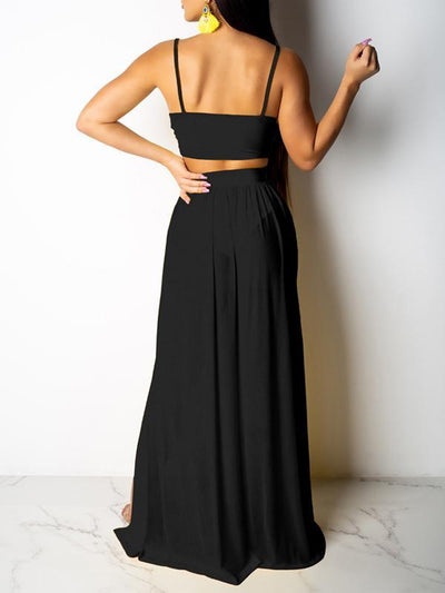 Solid V Neck Sleeveless Side Slit Two Piece Maxi Dresses-Dresses-pinkychloe