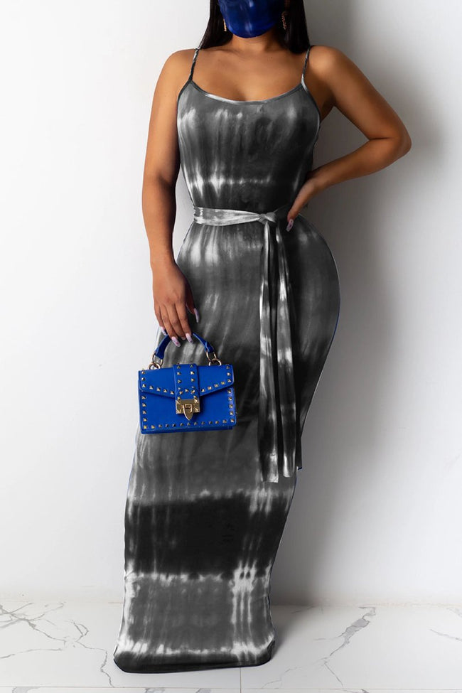 Tie Dye Sleeveless Maxi Dress With Belt-Dresses-pinkychloe
