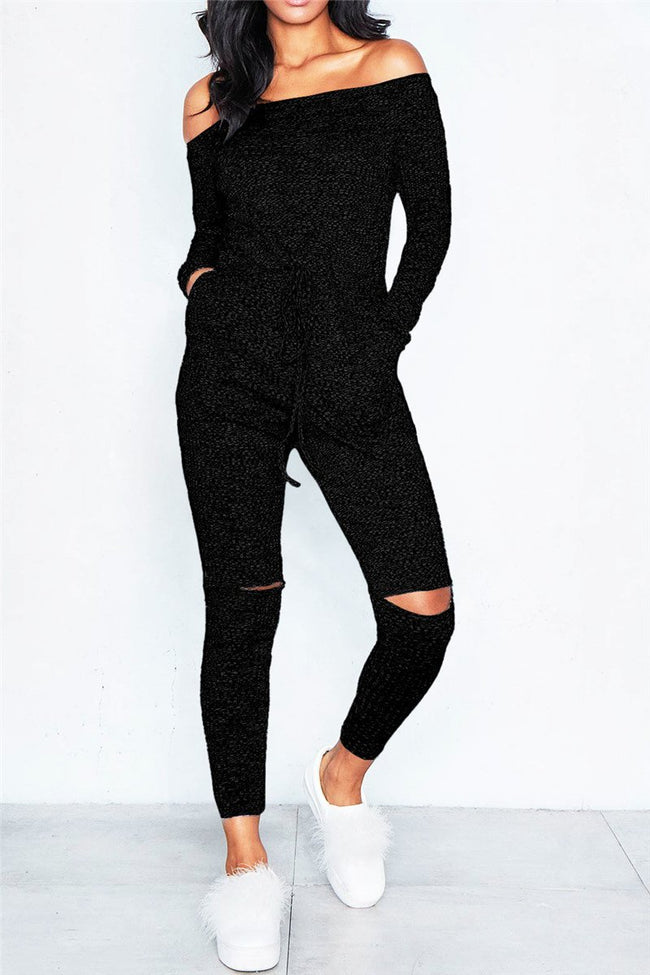 Knitted Off Shoulder Jumpsuit-Jumpsuits-pinkychloe