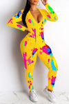 Hooded Collar Graffiti Print Zipper Top & Pants-Jumpsuits>Jumpsuits>Fashion-pinkychloe