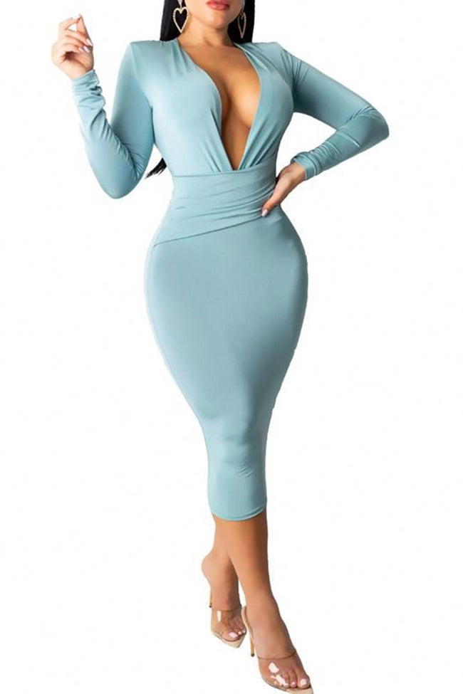Sexy Dresses for Women Long Sleeve Deep V Bodycon Fall Autumn Midi Dress-Dresses-pinkychloe