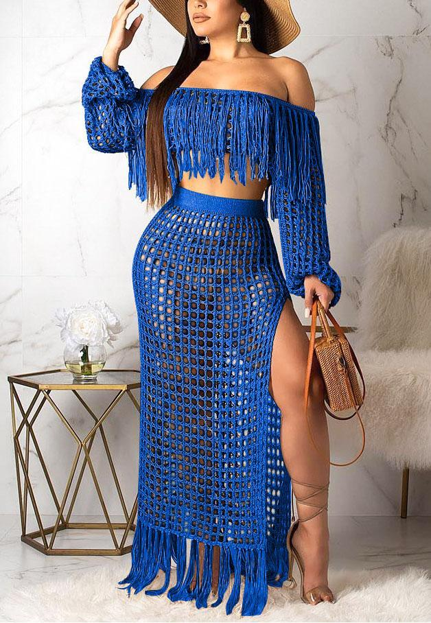 Hollow Sexy Mesh Tassel Two Piece-Dresses-pinkychloe