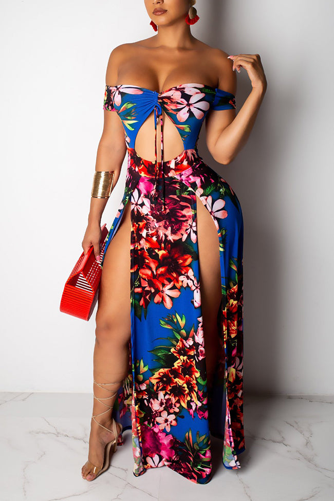 Sexy strappy strapless printed dress with slits-Dresses-pinkychloe