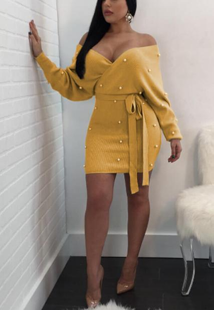 Sexy Long Sleeved Hip Dress-pinkychloe