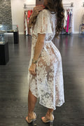 Sexy cardigan lace hollow see-through blouse-Dresses-pinkychloe