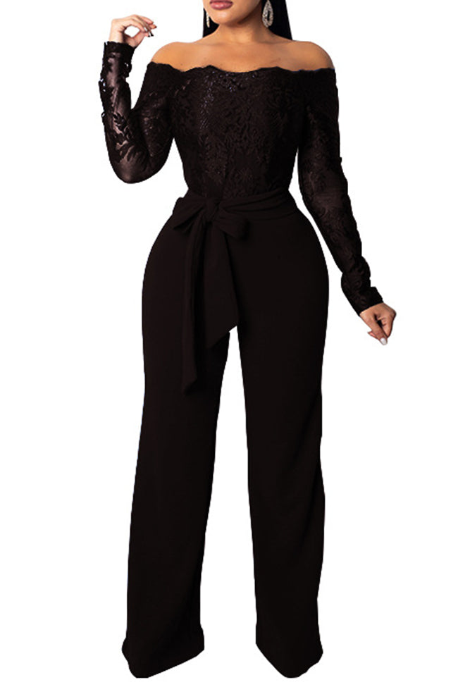 Lace Sexy One-neck Jumpsuit-Jumpsuits>Jumpsuits>Solid-pinkychloe