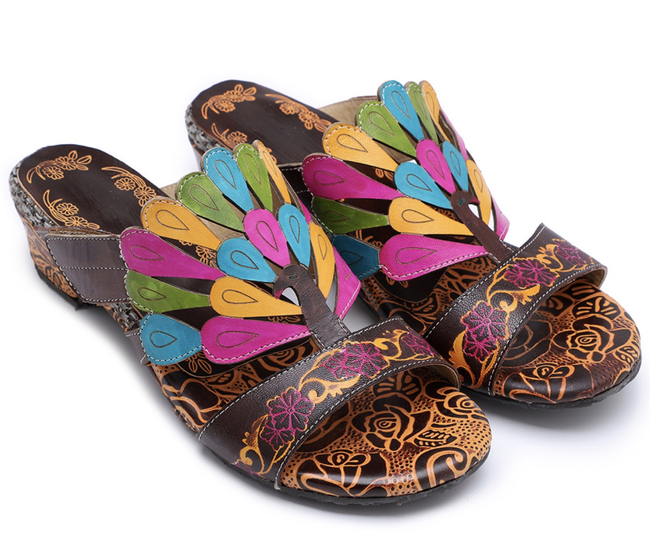 Leather Peacock Handmade Comfortable Adjustable Sandals-Shoes-pinkychloe