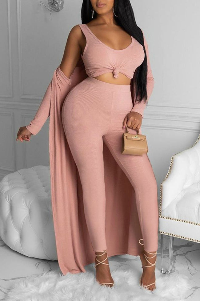 Rib Solid Color Scoop Neck Three Piece Sets-Sets-pinkychloe