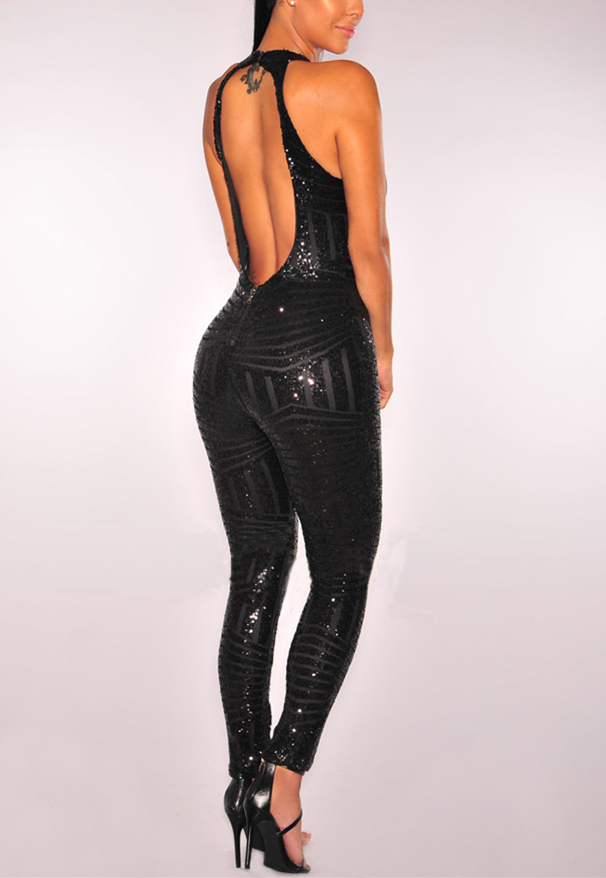 Round Neck Hip Sequined Jumpsuit-Jumpsuits-pinkychloe