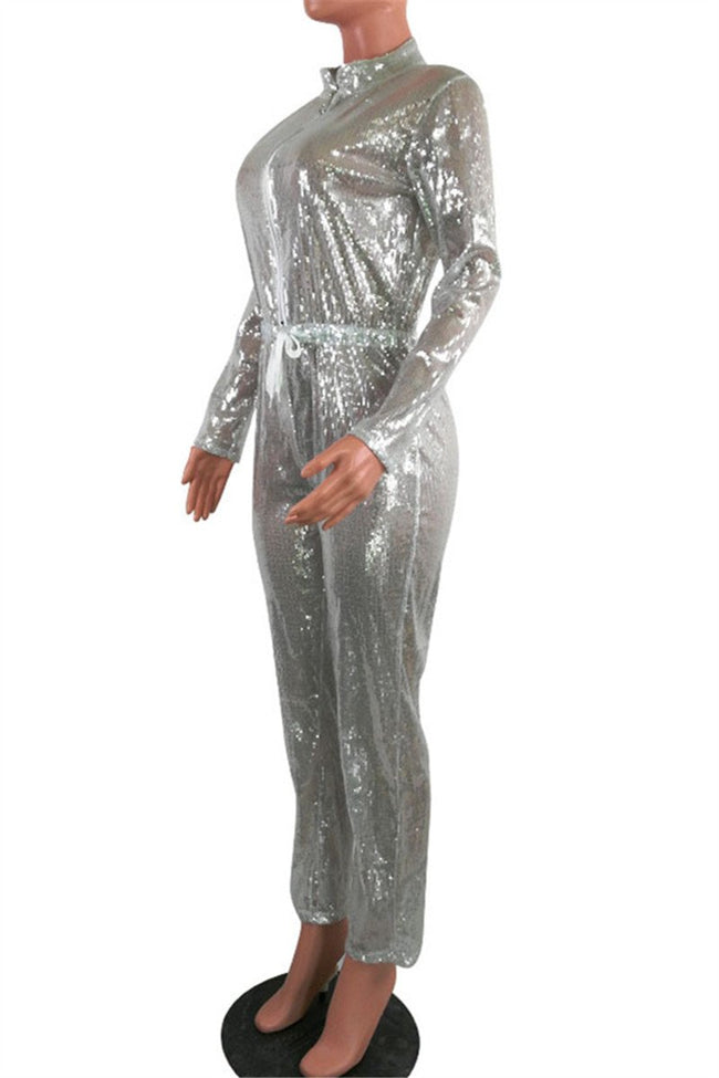Plus Size Sequins Splicing Jumpsuit-Jumpsuits-pinkychloe