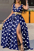 Polka Dot V-Neck Sleeveless Maxi Dress-Dresses-pinkychloe