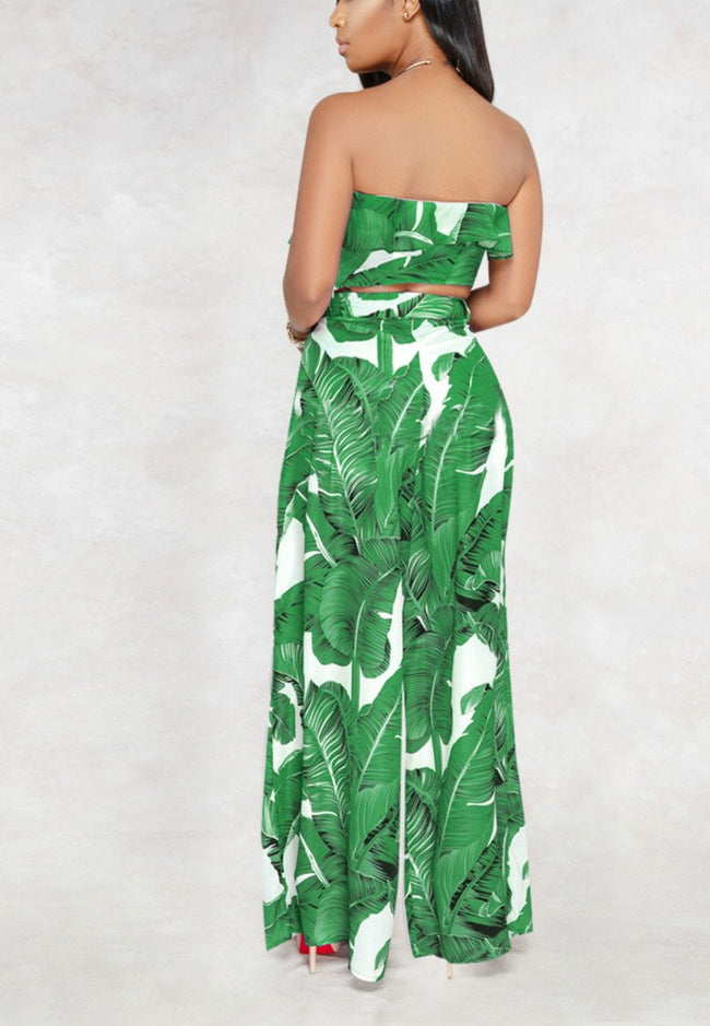 Sexy Wrapped Chest Ruffled Wide Leg Pants Two Piece Suit-jumpsuit-pinkychloe