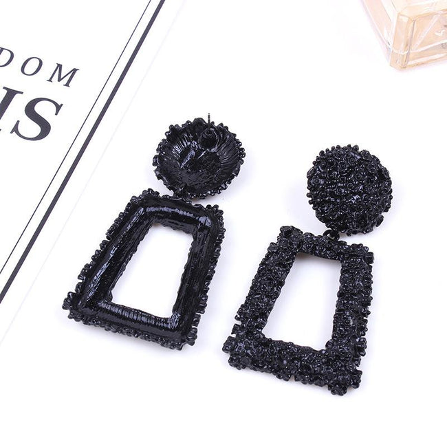 Vintage Earrings Personality Geometric Square Metal Earrings-pinkychloe