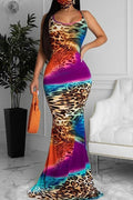 Cheetah Tie Dye Print Mermaid Sleeveless Maxi Dress-Dresses-pinkychloe