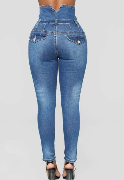Fashion High Waist Denim Pants-Bottoms-pinkychloe