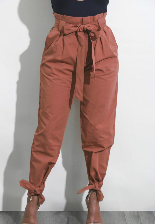New Bow Tie Casual Trousers With Belt-pant-pinkychloe