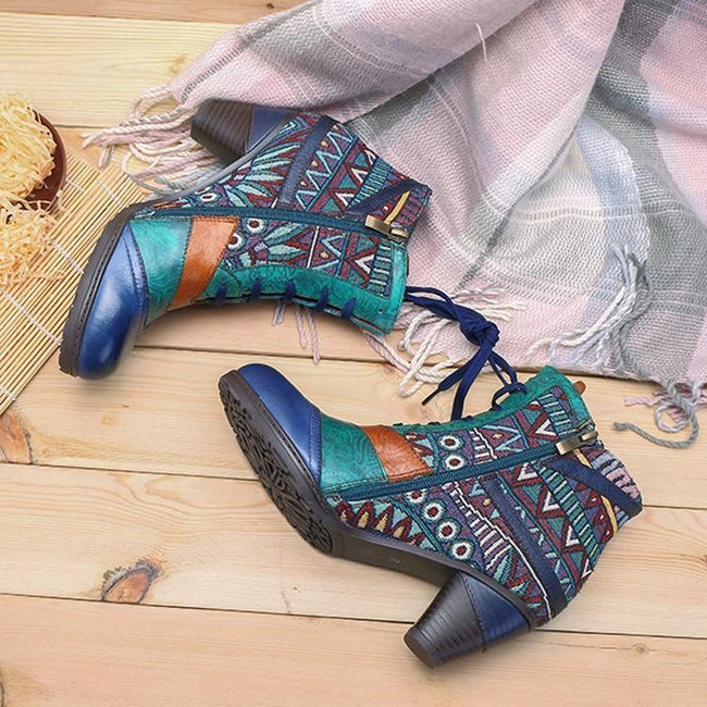 Leather Stitching Jacquard Craft Fashion Women'S Boots-Shoes-pinkychloe