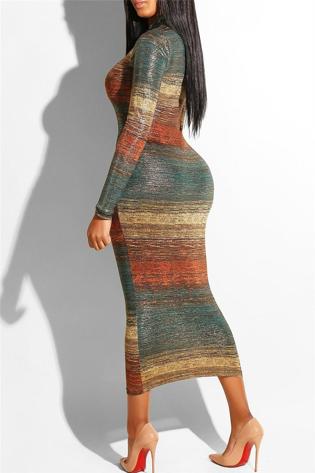 Color Changing Striped Midi Dress-Dresses-pinkychloe