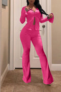 Zipper Flared Solid Color Two Piece Sets-Sets-pinkychloe