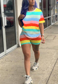 Cute Sports Leisure Rainbow Strip Two Piece-Jumpsuits-pinkychloe