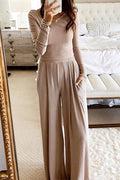 Slim Round Neck Two-piece suit-Sets>Pant sets>Solid-pinkychloe