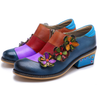 Retro Contrast Color Handmade Flower Thick Shoes-Shoes-pinkychloe