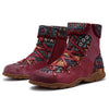 Genuine Leather Splicing Jacquard Lace Up Zipper Flat Boots-Shoes-pinkychloe
