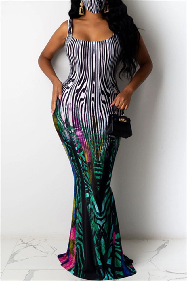 Printed Cami Maxi Dress-Dresses-pinkychloe