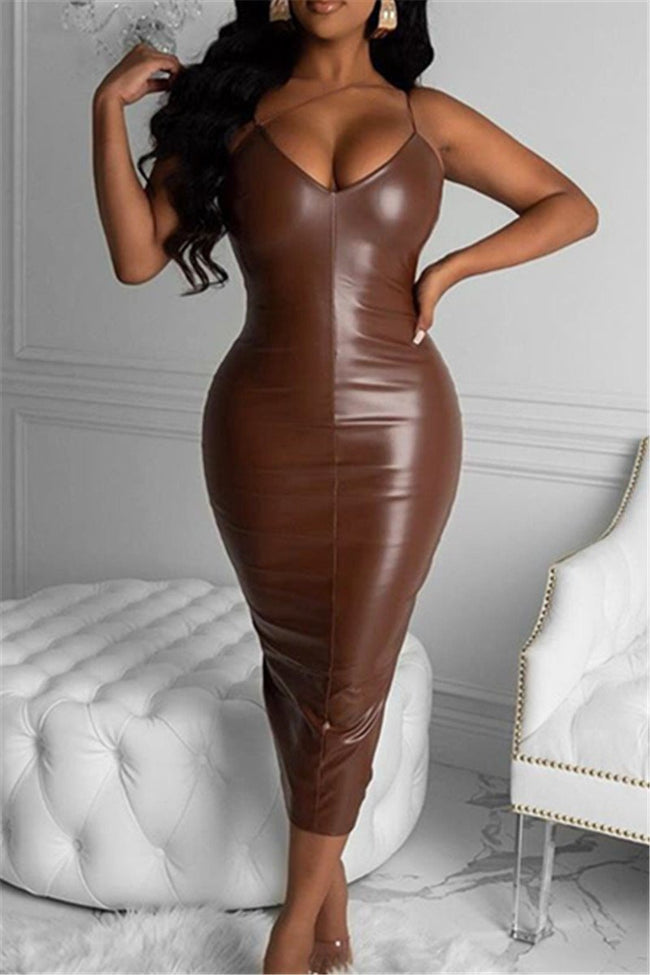 Solid Color Leather Cami Dress-Dresses>Long>Solid-pinkychloe