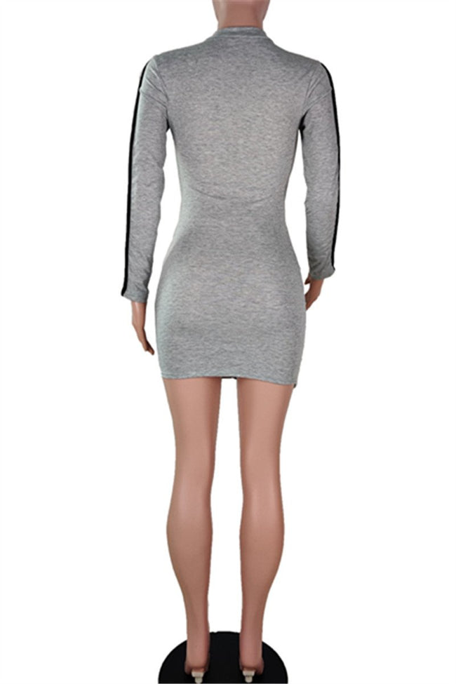 Zipper Splicing Ruched Mini Dress-Dresses>Short>Fashion-pinkychloe