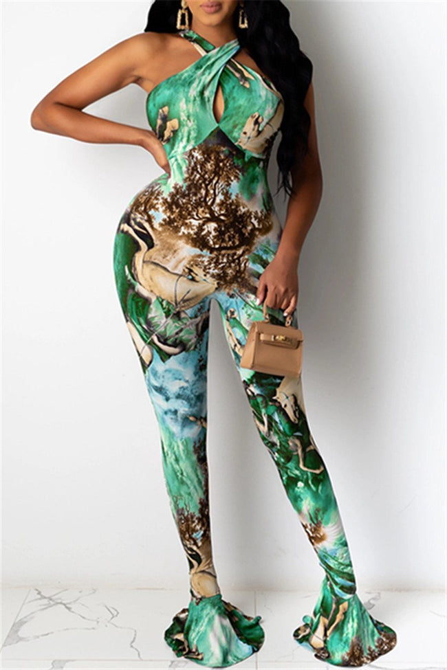 Printed Flare Bodycon Jumpsuit-Jumpsuits>Jumpsuits>Fashion-pinkychloe