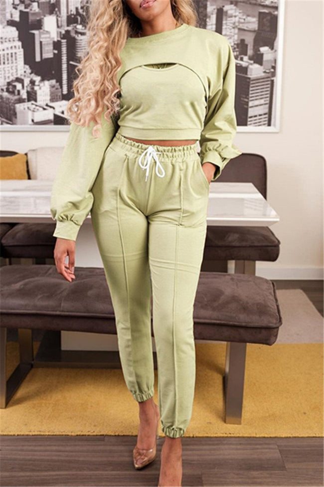 Casual Solid Color Three PC Sets-Sets>Pant sets>Solid-pinkychloe