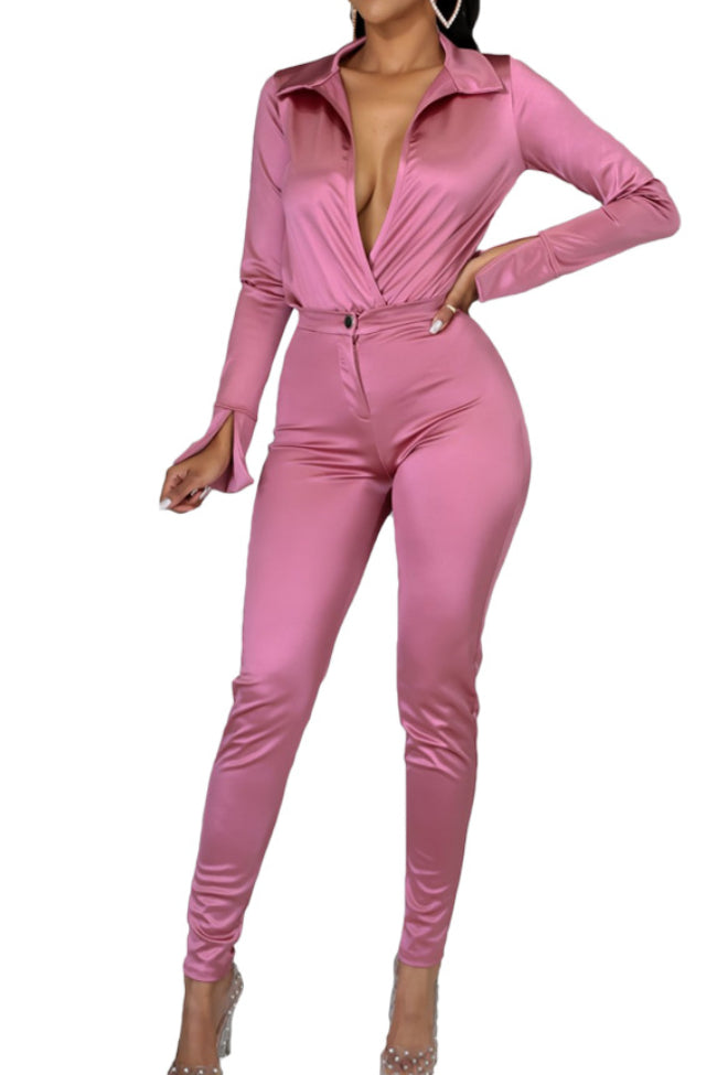 Fashion casual solid color bright face suit-pinkychloe