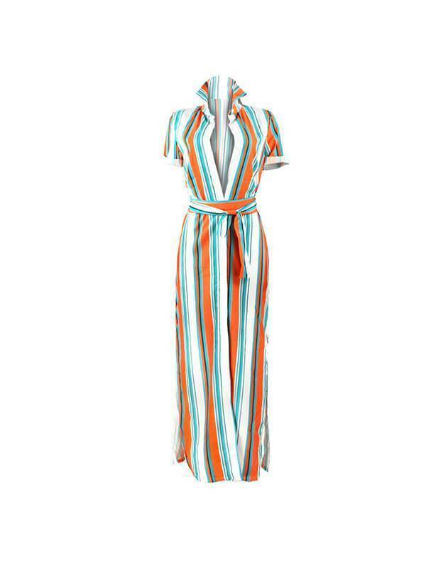 Stripe Slit Shirt Dress-Dresses-pinkychloe