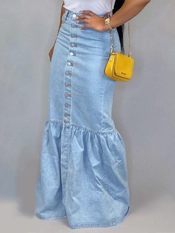 Button-Down Denim Skirt-Bottoms-pinkychloe
