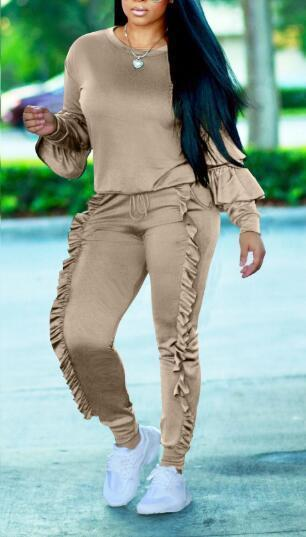 Layered Sleeve Solid Color Casual Pantsuit-JUMPSUITS-pinkychloe