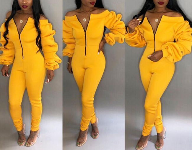 One-handed Pile Of Sleeves Slim Jumpsuit-Jumpsuits-pinkychloe