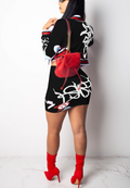 Street Fashion Hipster Print Long Sleeve Two piece-Dresses-pinkychloe