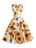 Sunflowers Retro 1950s Dress-pinkychloe